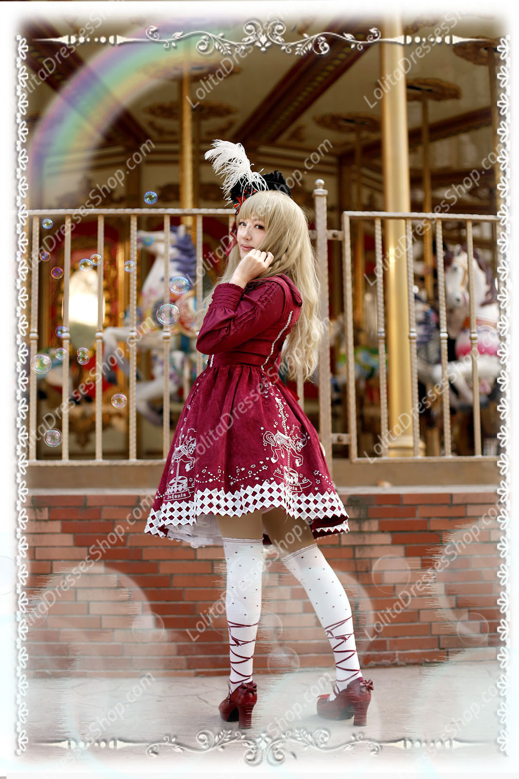Sweet Cotten Carousel Gold And Silver Thread Embroidery Infanta Lolita JSK
