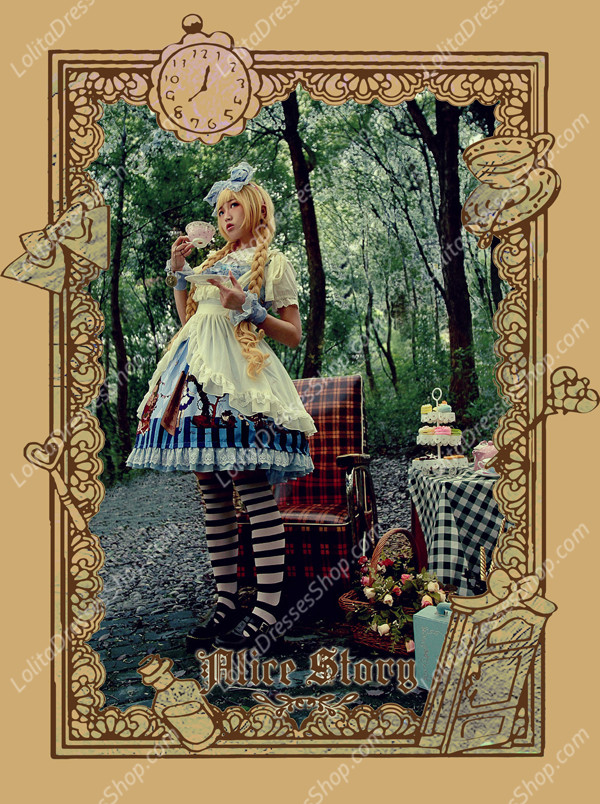 Sweet Cotten Print Alice Story Infanta Lolita Hand Cuff