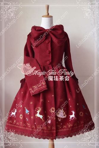 Sweet Magic Tea Party JSK Floral Christmas Embroidery Lolita Coat