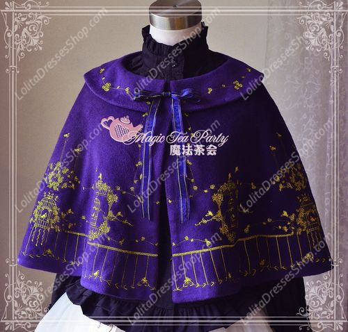 Sweet Magic Tea Party JSK Floral Gplden Embroidery Lolita Cape