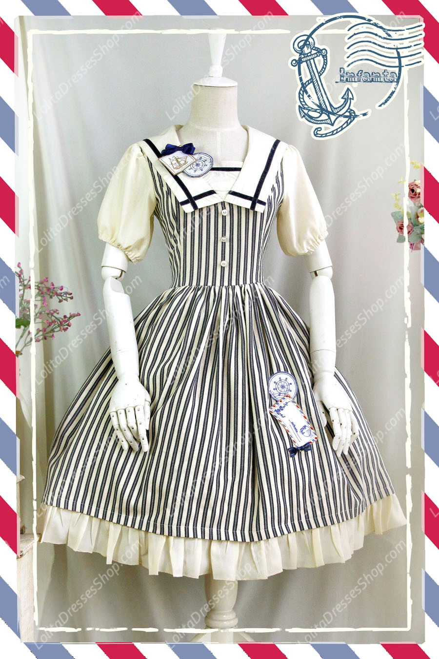 Sweet Cotten Short Sleeves Square collar Navy Style Infanta Lolita OP