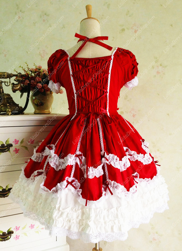 Sweet Cotten Vintage Lace Party Short Sleeve Lolita Dress