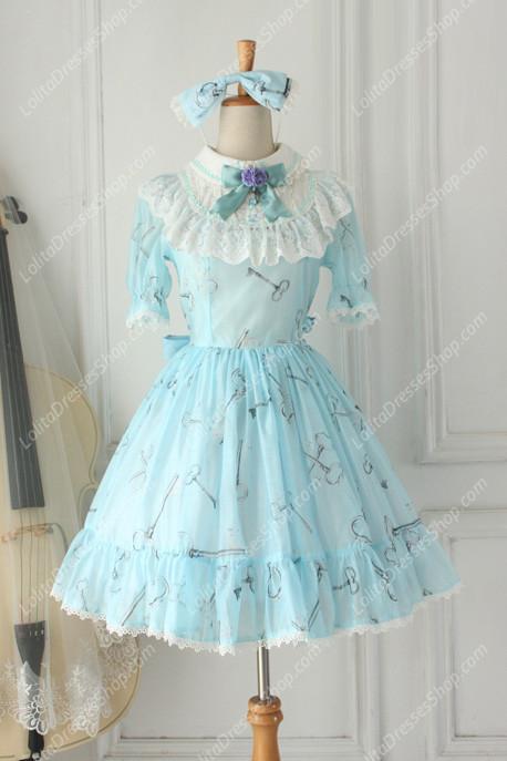 Cheap Sweet Chiffon Lace Alice In Wonderland Short Sleeve