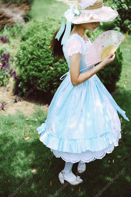 cotton Fashion Lace Vintage Short Sleeve Pastoral embroidery Lolita Dress