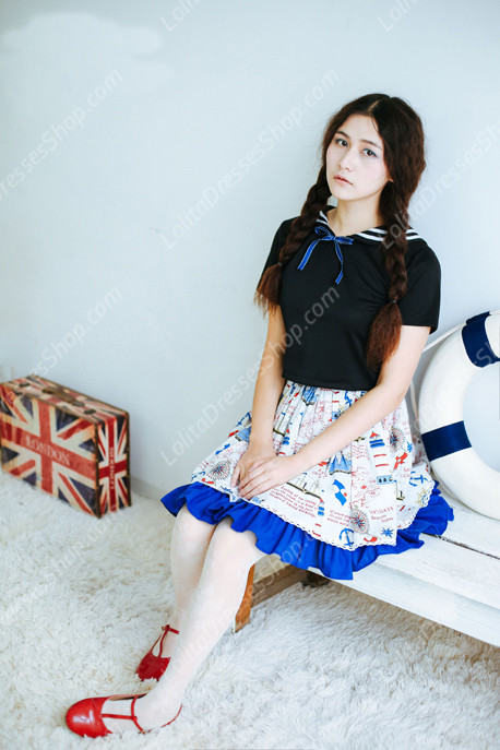 Sailor preppy chic Vintage peaceful sea Knot cotton Lolita Skirt