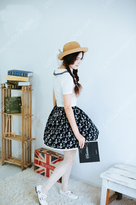 Sailor Vintage peaceful sea Knot cotton Lolita Skirt