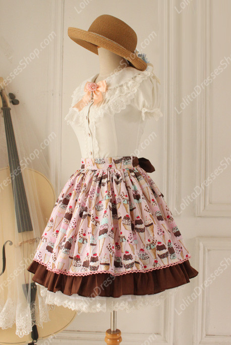 Sweet Party Pink Tale Knot Lace Cotton Lolita Skirt