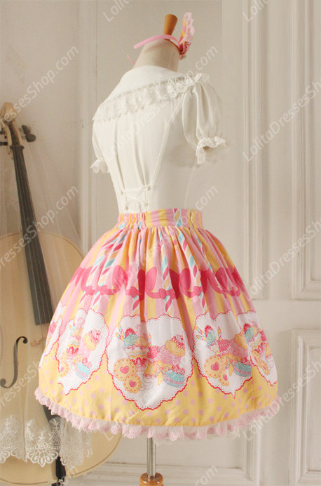 Sweet Party Beautiful Tale Knot Lace Cotton Sk Lolita Skirt