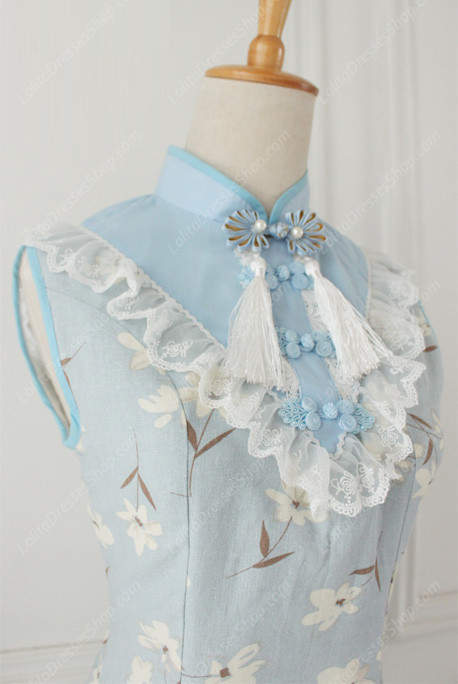 Lolita Cotton Vintage Chinese orchid Flounced Stand Collar OP Dress