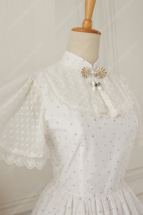 Lolita Cotton Vintage Chinese Butterfly Flounced Stand Collar OP Dress