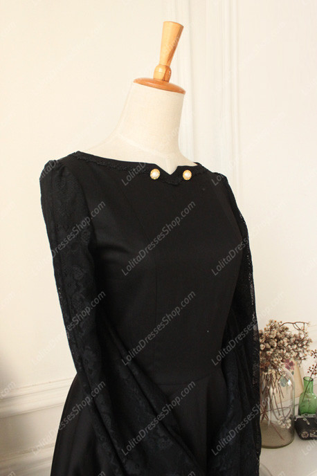 Downton Abbey Classic Black Lace cardigan Front Gothic Lolita Dress