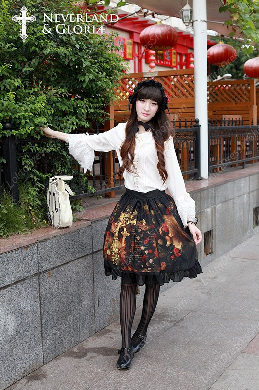 Sweet Choosing Flower Girl Souffle Song Lolita Painting Style Retro Printing Waist Skirt