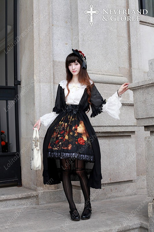 Sweet Choosing Flower Girl Souffle Song Lolita Painting Style Retro Printing High Waisted Skirt