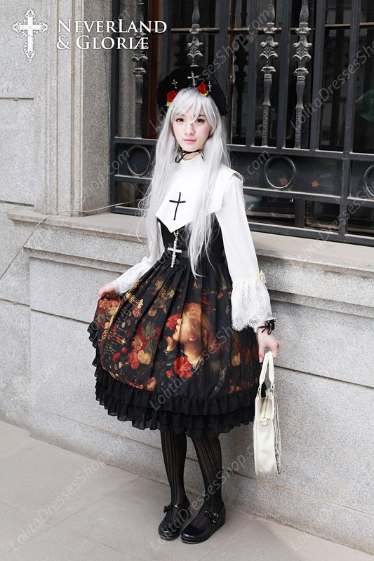 Sweet Choosing Flower Girl Souffle Song Lolita Painting Style Retro Printing Pattern Dress JSK