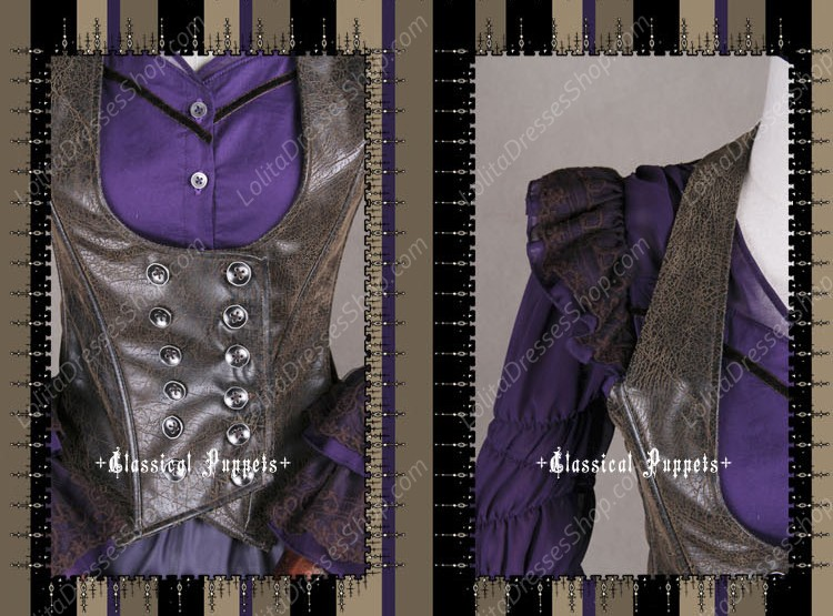 Sweet Steam Band Leather Double Breasted Classical Puppets Lolita Vest