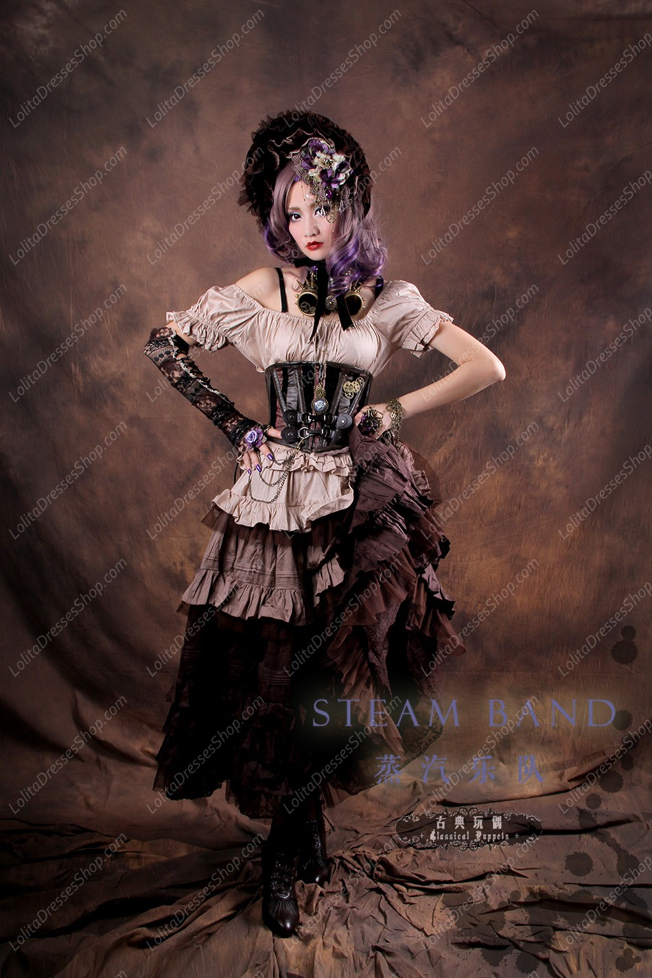 Sweet Steam Band Leather Fishbone Short Classical Puppets Lolita Girdles