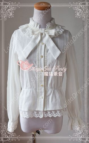 Sweet Cotten Easy Dark Stripe Magic Tea Party Lolita Shirt