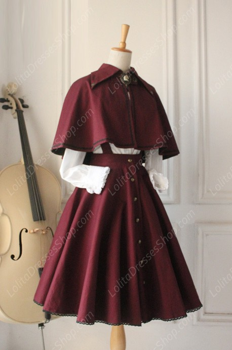 Gothic Retro Cloak Lolita Strap Dress Lolita Suit