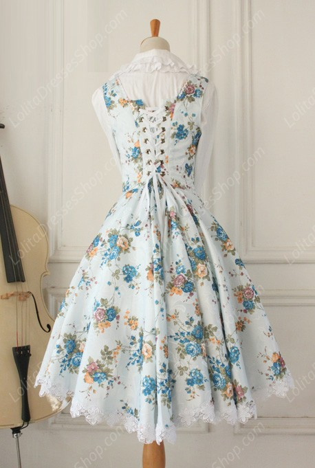 Vintage Breast Care Lace Floral Gothic Lolita Dresses