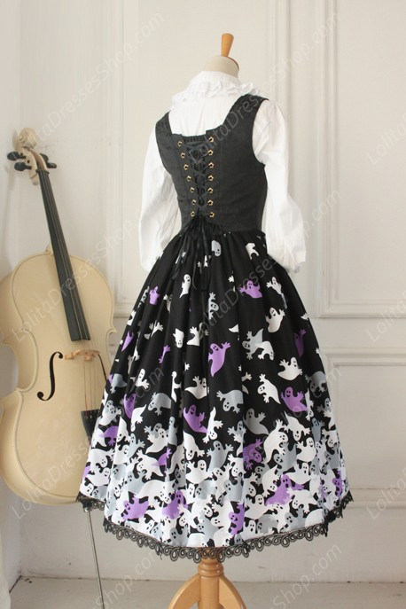 Vintage Breast Care Lace Ghost Print Bow Gothic Lolita Dresses