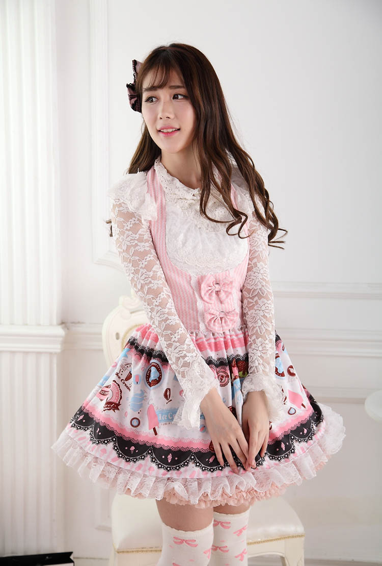 Sweet Lace Princess Strap Pink Ice Cream High Waist Print Sweet Lolita Dress JSK