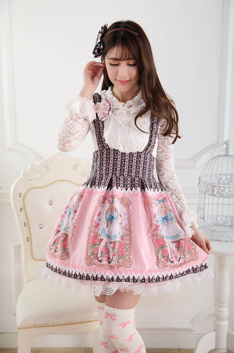 Sweet Lace Princess Strap Alice Rose Print Sweet Lolita Dress JSK