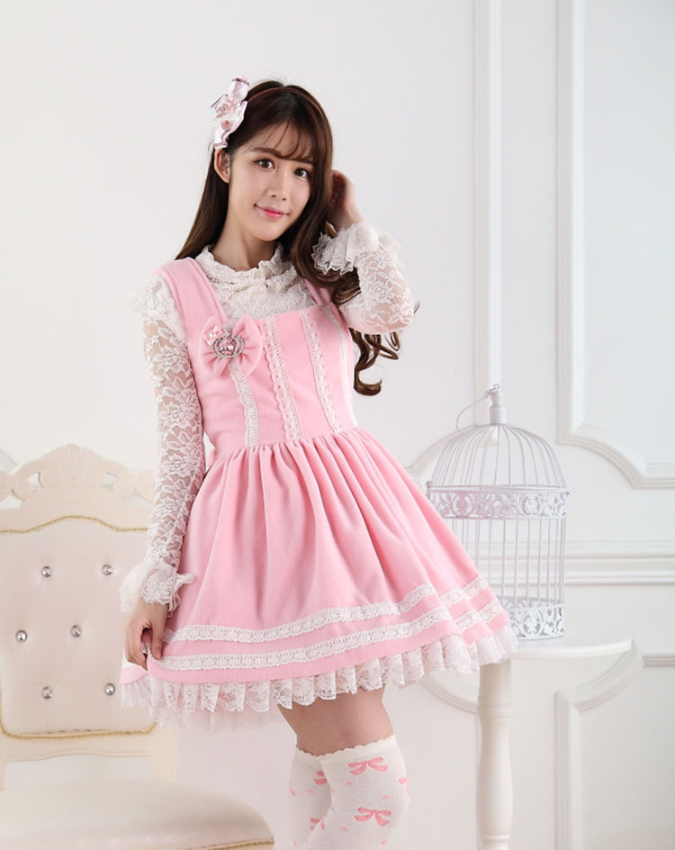 Sweet Lace Princess Pink Bow Print Sweet Lolita Dress JSK