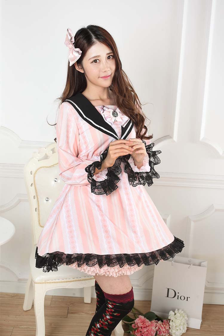 Sweet Lace Pink Navy Collar Print Bow Sweet Lolita Dress JSK