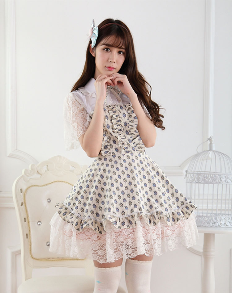 Sweet Lace Ladies Easter Egg Fly Sleeve Sweet Lolita Dress JSK