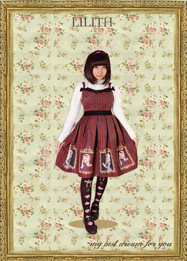 Sweet Lady Cats Prints Vintage LILITH Lolita Jumper Dress