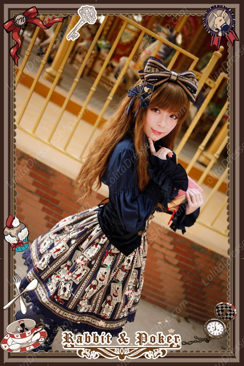 Sweet Cotten Rabbit&Poker Medium Waist Infanta Lolita SK