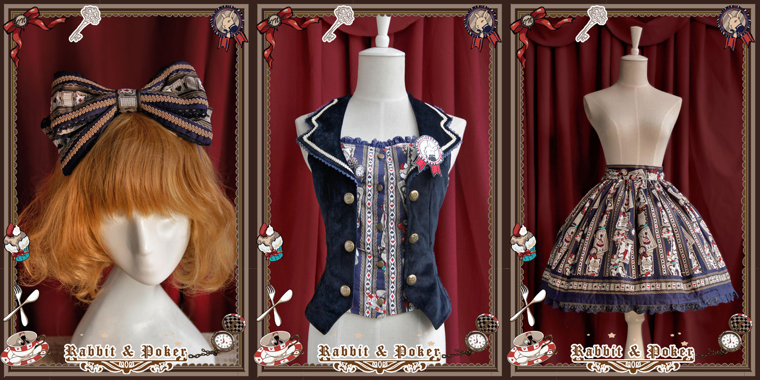 Sweet Cotten Rabbit Poker Infanta Lolita Combination 3 : Skirt + Vest + Hair Bow