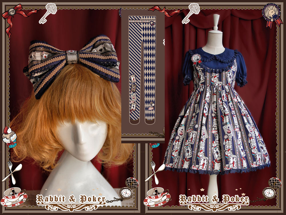 Sweet Cotten Rabbit Poker Infanta Lolita Combination 5 : Dress + Socks + Hair Bow