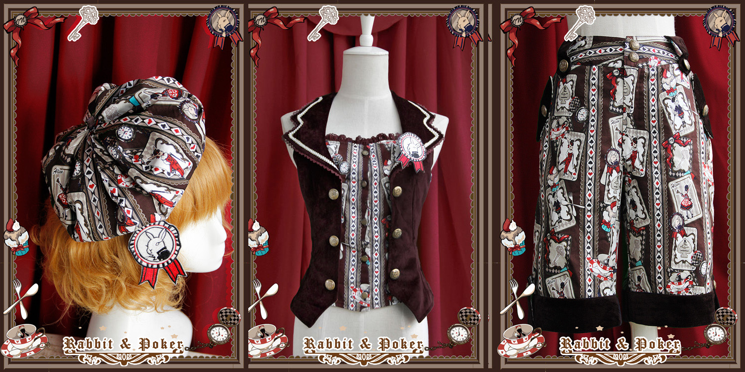 Sweet Cotten Rabbit Poker Infanta Lolita Combination 2: Shorts + Vest + Beret