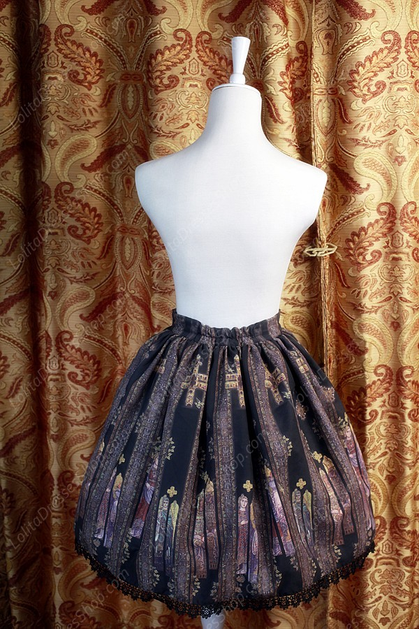 Sweet Original Religious Style Stained Glass Souffle Song Lolita Printing Skirt