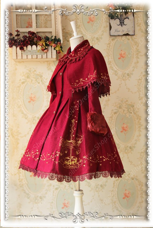 Sweet Cotten Merry Go Round With Gold Embroidered Cashmere Infanta Lolita Cape Coat