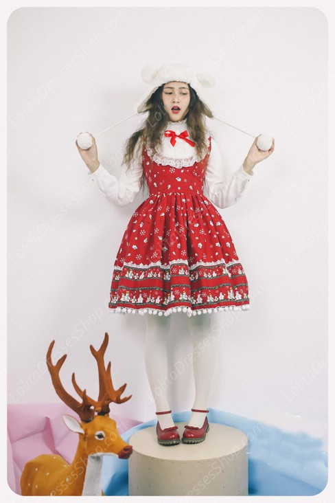 Sweet Frozen Christmas Snowman Retro Fairy Tale Style Lolita Dress Vest Skirt
