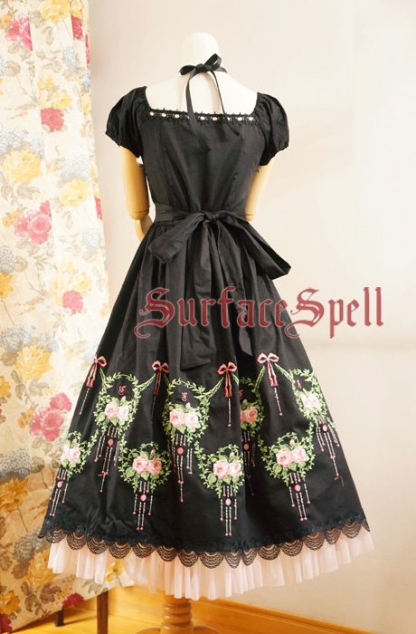 Dancing Roses Original Embroidery Puff-sleeve Surface Spell Gothic Lolita Long Dress