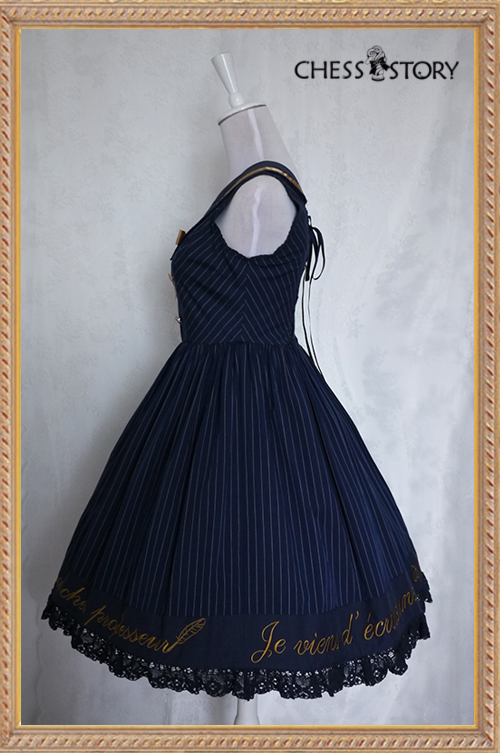 Sweet Cotton College School Style Wine/Navy Blue Stripes Chess Story Lolita Jumper Dress