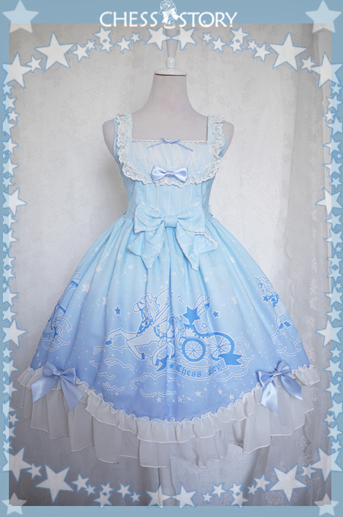 Sweet POLYESTER Dreamy Starry Night Print Chess Story Lolita JSK Vest Skirt