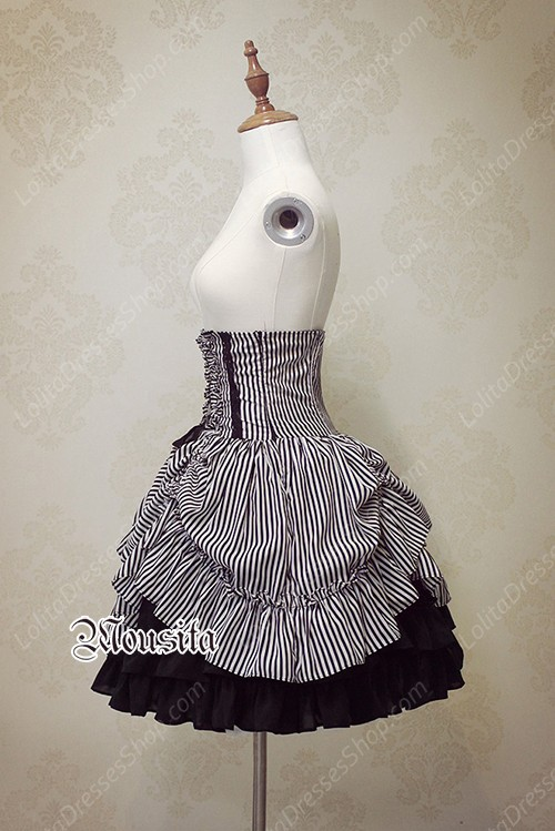 Sweet Cotton Gothic Stripe Steel Mousita Lolita Bust Skirt