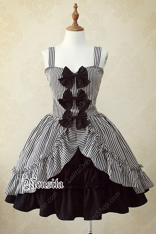 Sweet Cotton Bow Gothic Striped Mousita Lolita Suspender Skirt Two-piece