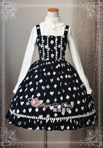 Sweet Poker Printed Magic Tea Party Lolita Jumper Dress