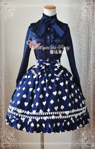 Sweet Cotten Poker Printed Magic Tea Party Lolita Skirt