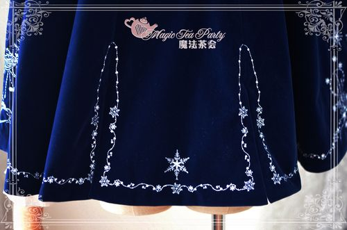 Sweet Cotten Embroidery Magic Tea Party Lolita Cape with Hood