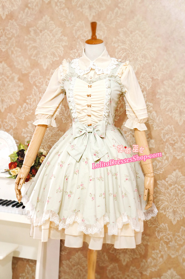 Sweet Cotten Elegant With Flower Prints Strawberry Witch Lolita Jumper Dress