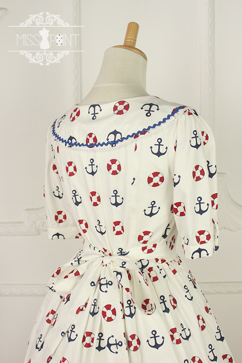 Zoom Sailor Style Miss Point Sweet Lolita OP Dress