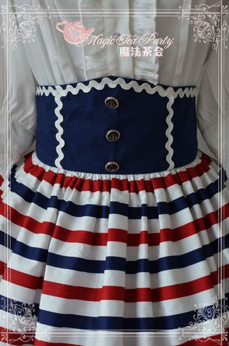 Sailor Style High Waist Blue Ocean Magic Tea Party Lolita Skirt