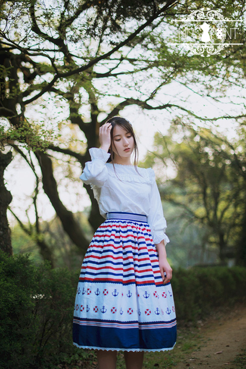 Sweet Sailor Style College School Style Striped Miss Point Lolita Skirt