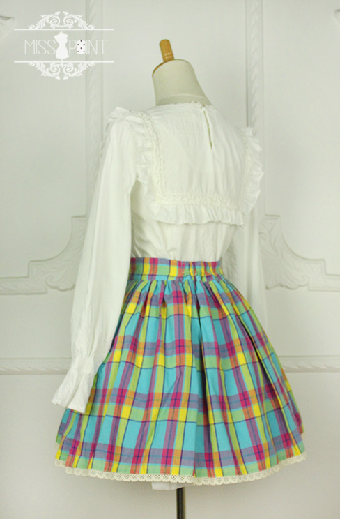 Sweet Candy Rainbow Vintage Gingham Miss Point Lolita Skirt